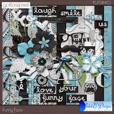 Funny Face Digital Scrapbook Page Kit at Gotta Pixel. www.gottapixel.net/