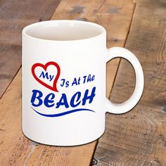 My Heart Is At The Beach Coffee Mug by BadassPrinting.com