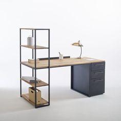 Bureau-bibliothèque métal et chêne massif, Hiba La Redoute Interieurs