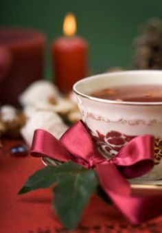 A warm cup of tea and a simple ribbon...warms the soul.....