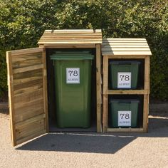 Wheelie Bin and Recycling bin store for 2 bins with 3 FREE personalised address labels. Made from tanalised (pressure treated against rot) pine, this bin will be an attractive addition to you garden for a long time to come. Wooden Storage Sheds, Shed Storage, Storage Bins, Storage Solutions, Recycle Cans, Free Recycle, Recycling Bin Storage, Bin Store, Store 3