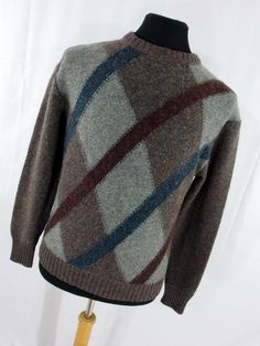 80s Mens Sweater L Large Wool Alpaca Brown Tan Gray Argyle Stripe McGregor Crew Neck Long Sleeve L3 by AmazingTasteVintage on Etsy #80sclothing #vintageclothing