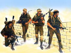 Israeli MAGist Paratroopers on patrol, Lebanon