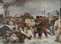 Прорыв блокады Ленинграда. 18 января 1943 года. Худ. А.Казанцев, И.Серебряный, В.Серов (1943)