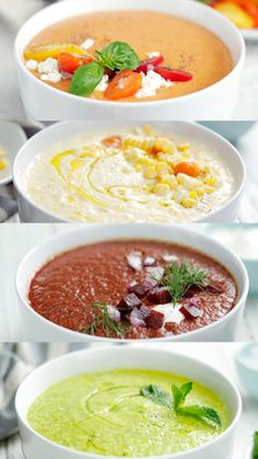 Don't ignore soup just 'cause it's hot outside — transform it into delicious and refreshing gazpacho instead. Vegetarian Recipes, Cooking Recipes, Healthy Recipes, Healthy Soup, Healthy Eating, Summer Soup Recipes, Chilled Soup, Think Food, Soup And Salad