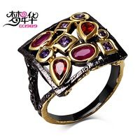 DreamCarnival 1989 Square Vintage Ring for Women Fuchsia and Purple CZ Engagement Jewelry Hip Hop Lovely Street Fashion Anillos