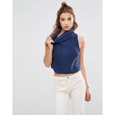 Free People Little White Lies High Neck Singlet (66 AUD) ❤ liked on Polyvore featuring tops, navy, navy blue top, high neckline crop top, navy top, white high neck top and cut-out crop tops