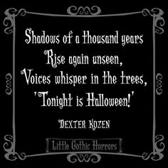 """.Halloween """"Shadows of a thousand years, rise again unseen, Voices whisper in the trees ..."""""""