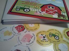 Farm Barnyard Animals Theme Birthday Baby Shower Invitations