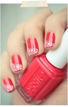 Beautiful nail art designs with Essie Lace Nail Art, Lace Nails, Flower Nail Art, Daisy Nails, Lace Art, Essie, How To Do Nails, Fun Nails, Uñas Color Coral