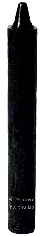 "1 x BLACK CANDLE  TAPER RITUAL 6"" / 15.2cms Wicca Goth Pagan Witch SPELL CANDLE"