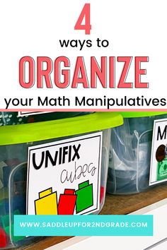 "Look for answers to ""how to organize math manipulatives"" and need some creative ways to bring organization to all the math things? We've gotcha covered! Click the pin to check out these 4 simple ideas for keeping your classroom organization going all the way through math time!"