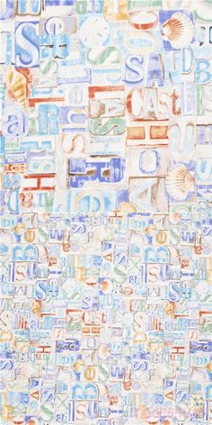 """off-white cotton fabric with light brown words made out of typeface blocks, Summer, Beach, Swim, Boat, Relax, Sea etc., Material: 100% cotton, Fabric Width: 112cm (44"""") #Cotton #Letters #Numbers #Words #USAFabrics"""