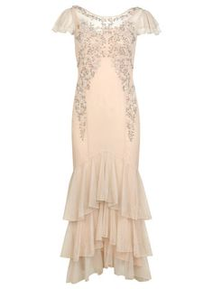 Nude Embellished Tier Maxi