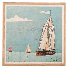 """Bring coastal-chic style to your entryway or living room with this lovely print, showcasing a sailboat motif and burlap-wrapped frame.   Product: Framed printConstruction Material: BurlapColor:  NaturalFeatures:  Sailboat motifBurlap-wrapped frameDimensions: 18"""" H x 1.5"""" W x 18"""" D"""