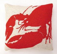 beach decor red lobster pillow