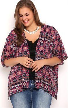 Short Sleeve Kimono with Navajo Print
