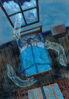 illustration print That night he dreamt he was a dog by pondpudding, Art And Illustration, Arte Van Gogh, Photo D Art, Surreal Art, Dark Art, Oeuvre D'art, Art Inspo, Art Reference, Illustrators