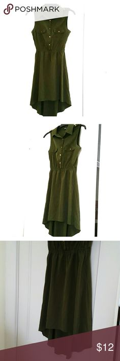 Olive green high-low button up dress. Very cute high-low dress with collar detail and button-up front is a beautiful dark olive green color, with bronze colored buttons. Very smooth, lightweight material and very comfortable. Has whitish stain on front right pocket (see photo). indulge Dresses High Low