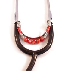 Beaded Stethoscope Charm Red with Silver Accents by DungleBees on Etsy