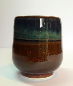 Hare's fur and iron glaze yunomi. Annie Jennings.