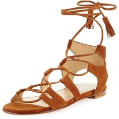 Stuart Weitzman Romanflat Suede Flat Gladiator Sandal ($635) ❤ liked on Polyvore featuring shoes, sandals, amaretto, lace up flats, greek sandals, open toe flat sandals, suede gladiator sandals and open toe sandals