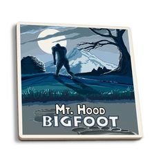 Mt. Hood, Oregon - Bigfoot - Lantern Press Artwork (Set of 4 Ceramic Coasters)
