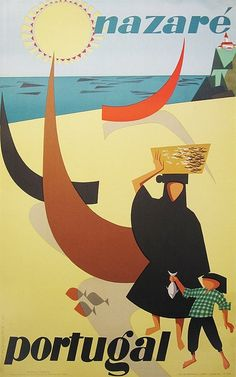 Nazaré, Portugal. Travel poster by Gustavo Fontoura - 1956