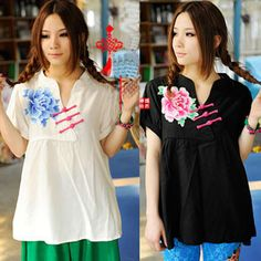 """Aliexpress.com : Buy Embroidery Shirts """"Chinse Style"""", National Trend Emboidered Poeny Shirts, Ethnic Style Cottton Fabric Shirts For Women NEW 2013 from Reliable embroidery shirts suppliers on Vintage  Fashion Store $42.31"""