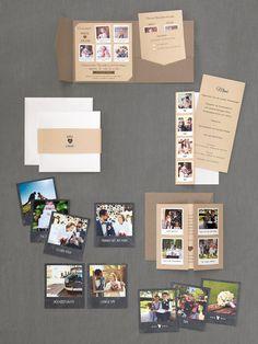 Rustikale Hochzeitspapeterie in Braun mit Polaroid-Magneten als Gastgeschenk und Pocketfold-Einladung von Carteland bei www.weddingstyle.de
