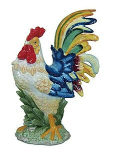 Features high Ceramic Hand Painted Exquisite Detailing Limited Edition This beautiful hand painted ceramic rooster,with vibrant colors is a great addition to any kitchen, dinning, or living area. Ceramic Chicken, Ceramic Rooster, Chicken Painting, Chickens And Roosters, Hand Painted Ceramics, Hens, Vibrant Colors, Colorful, Wildlife