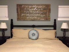 Wedding lyrics on reclaimed wood above your bed