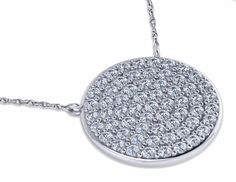 Circle Disc Pave Set Cubic Zirconia Necklace in 14k white gold by Ziamond. #ziamond #cubiczirconia #pave #disc #necklace #14kgold #holiday #gift #jewelry