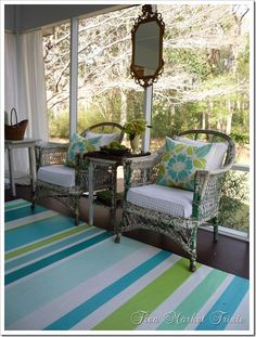 "painted ""rug"" made from vinyl flooring instead of canvas....genius for outside or screened porch!"