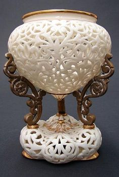 19th Century Grainger & Company Royal WorcesterReticulated Urn with Gilt Decoration. by Kodner Galleries