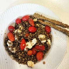 Food in Greece- lentils, tomato, feta cheese