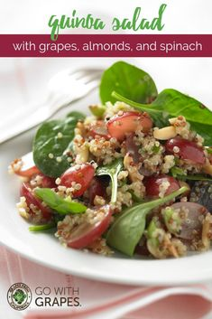 Go with grapes from California in this vegeterian quinoa salad that has just a few simple, fresh, and wholesome ingredients including quinoa, California grapes, almonds, and spinach.  This all-natural, plant-based salad is easy to make and perfect for a tasty and healthy meatless meal choice. #vegetarian #vegetarianrecipes #plantbased #cleaneating #healthyeating #healthyliving #healthysnacks #healthy #salad #saladrecipes #rawfoodrecipes #allnatural #meatlessmeals #quinoa #quinoasalad Grape Recipes, Raw Food Recipes, Appetizer Recipes, Salad Recipes, Vegetarian Recipes, Healthy Recipes, Summer Recipes, Grape Salad, Quinoa Salad