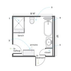 Floor Plan: Ian Worpole | thisoldhouse.com | from Opening Up a Bath for Better Function