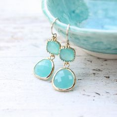 TenThings. DROPS of JUPITER. aqua. gold. earrings. ($48) ❤ liked on Polyvore