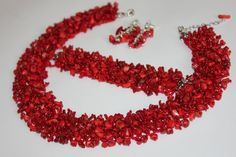 Red Coral Chips Necklace Red Coral by BeadCreativityByOlia on Etsy