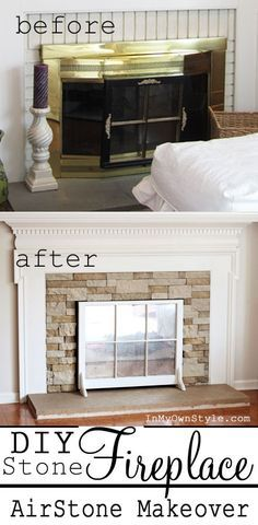 fireplace makeover. I want to paint our fireplace white, add stone in place of the red brick and get rid of the gold doors and add this center piece.