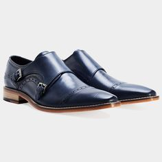 These shoes are all libs of win!! | Tunstead Navy Monk-Strap - Goodwin Smith #mensfootwear Goodwin Smith, Double Monk Strap Shoes, Men's Shoes, Dress Shoes, Navy Blue Shoes, Best Sellers, Oxford Shoes, Mens Fashion, Moda Masculina
