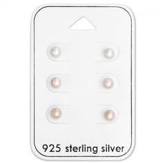 Baby and Children's Earrings:  Sterling Silver Faux Pearl Studs x 3 Pair Gift Pack.  Great value gift packs of kids' earrings from Baby Jewels.