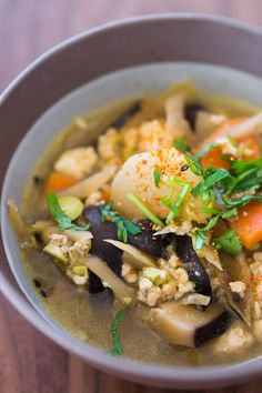 Kenchinjiru is a delicious example of shojin ryori, or buddhist temple food. With crumbled tofu and plenty of vegetables simmered in a flavorful vegan stock, it makes for a delicious filling meal with a bowl of rice.