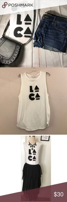 """BCBG """"LA CA"""" tank Cute summer tank! NWT. Size Large. """"LA CA"""". Skirt is also for sale; see separate listing. Host pick on 7/1/17 BCBGeneration Tops Tank Tops"""