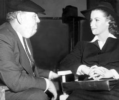 "W/her mentor Charles Laughton on the set of ""This Land is Mine"" RKO 1943. ©Delani"