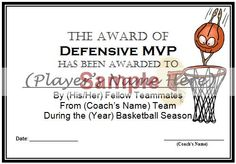 Basketball award certificates gift ideas pinterest for Basketball mvp certificate template