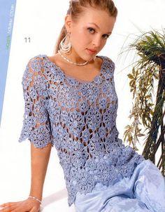 AGULHA, LINHA E AMOR: Blusa azul em crochê
