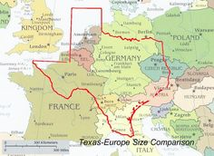 Texas-Europe Size Comparison Texas -- YES!  Texas has 254 counties and lots of places to explore.