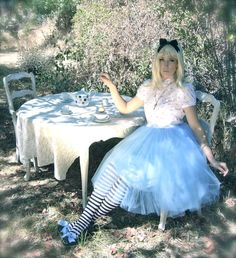 The Alice in Wonderland Blue Tutu Costume Set by darkponydesigns, $182.00 Just the tutu & stockings not the top something else